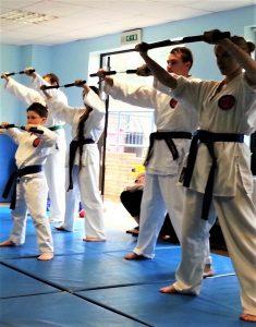 karate nunchucks kata exercise together